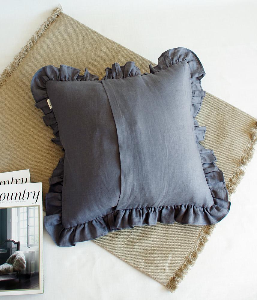 Frill Cushion Cover 【Charcoal Grey】 / フリルクッションカバー【グレー】