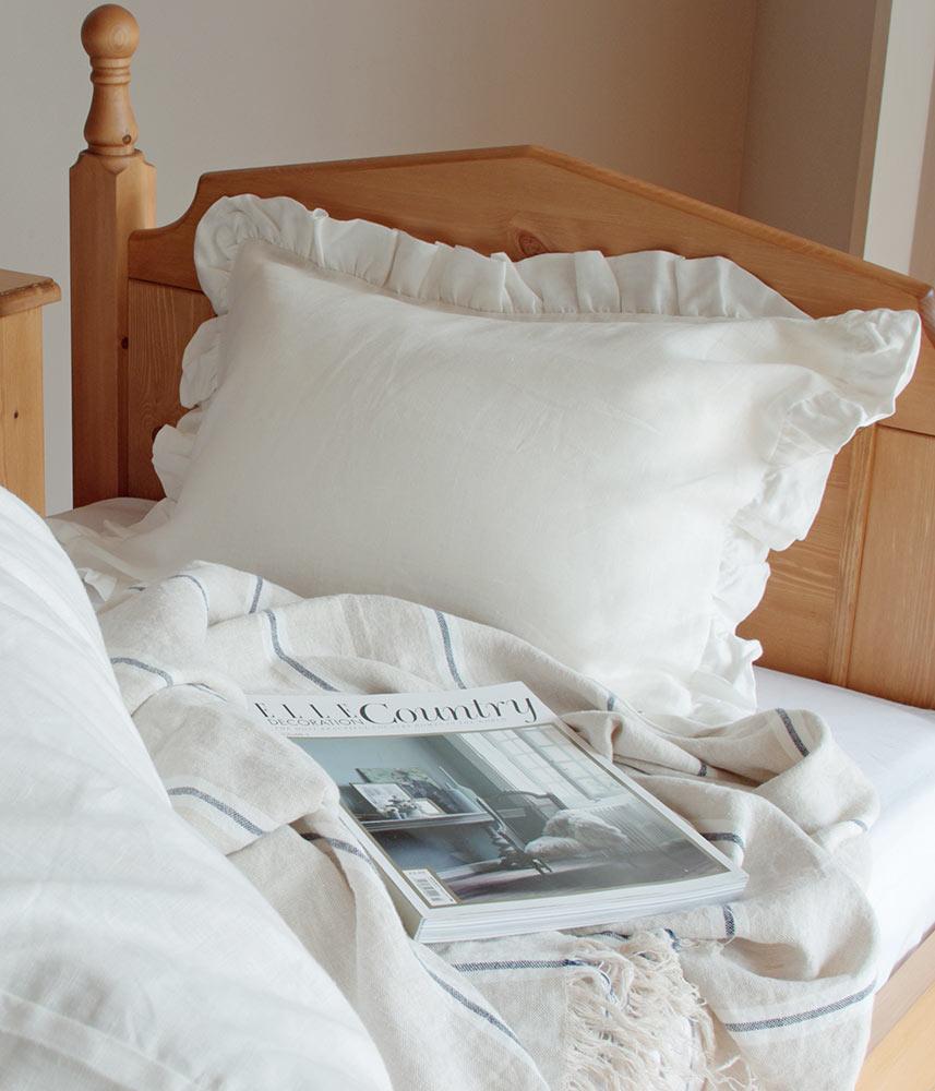 Frill Pillow Case / フリル付きピローケース  【ホワイト】【ライラック】【グレー】