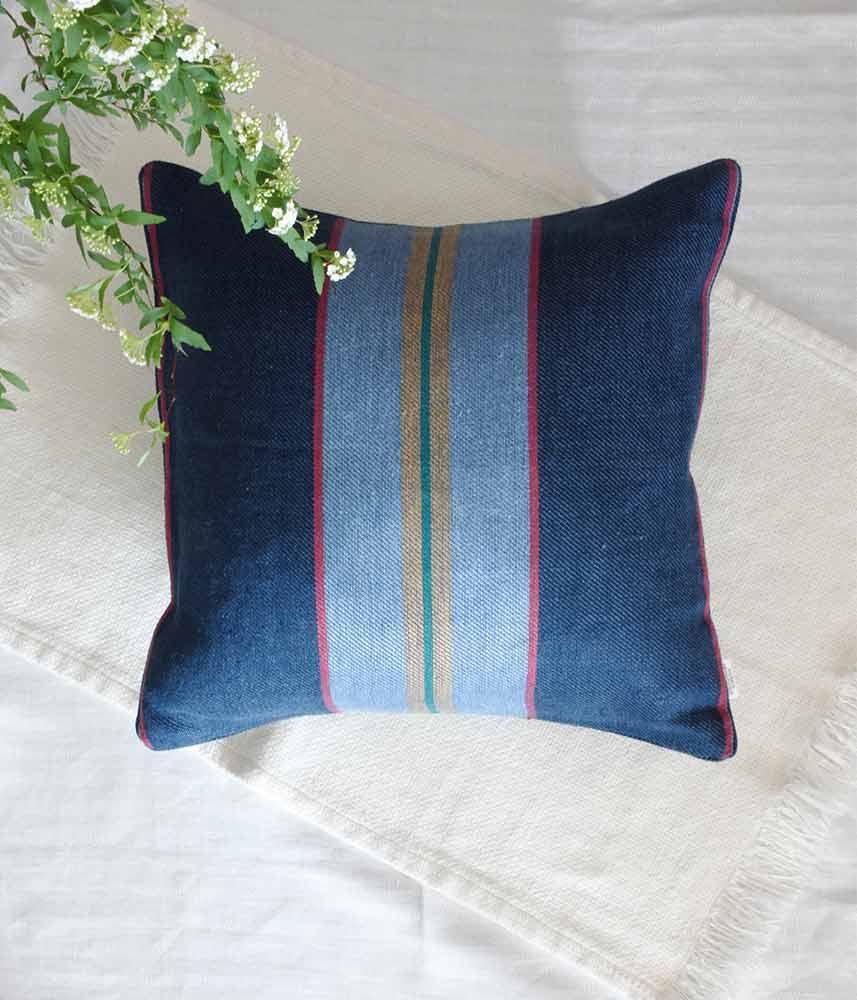 Linen Cushion Cover 【Navy&Blue Stripe】 / リネンクッションカバー【ネイビー&ブルーストライプ】