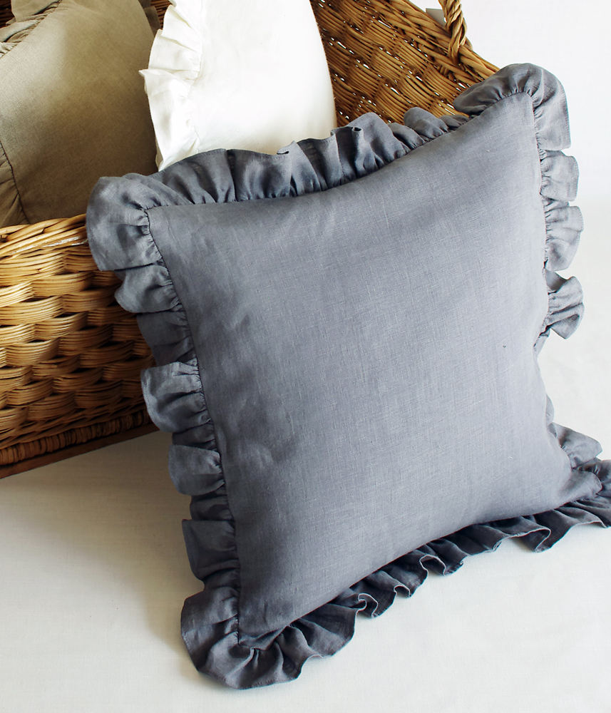 Frill Cushion Cover 【Grey】 / フリルクッションカバー【グレー】