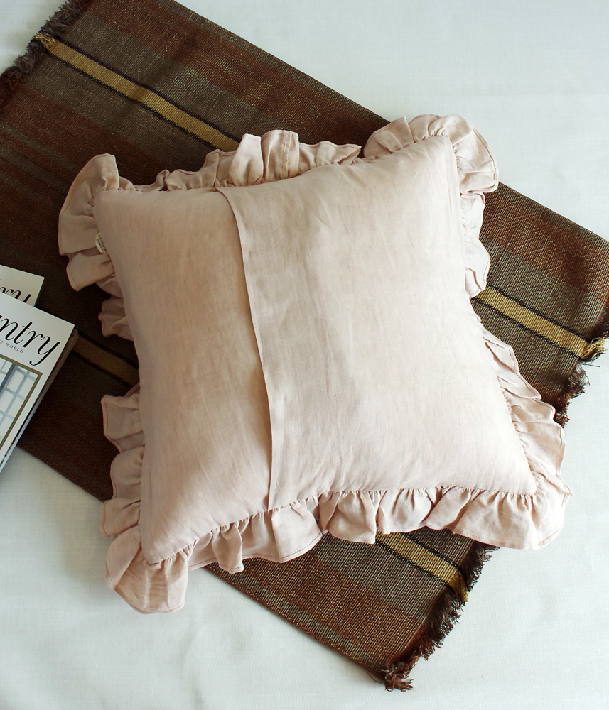 Frill Cushion Cover 【Chambrey Pink】 / フリルクッションカバー【ピンク】