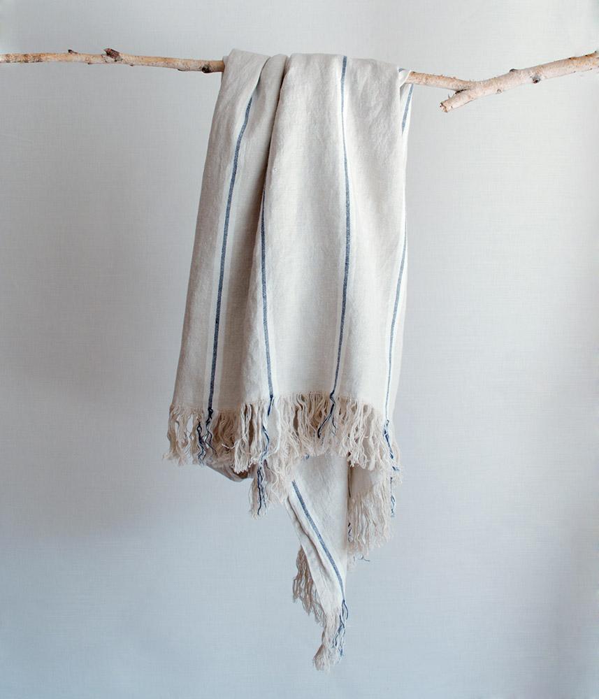 Linen Blanket【Marine2】 / リネンブランケット【マリン2】