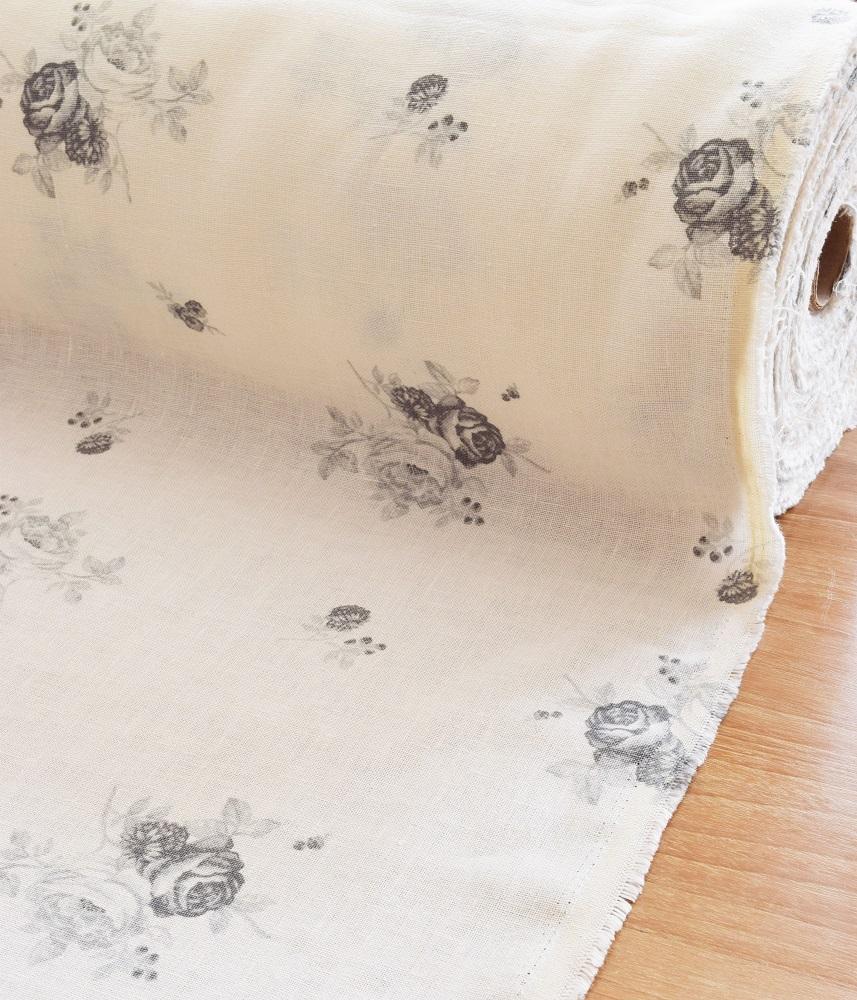 Linen Fabric【Shabbychic Rose Gray】 / リネンファブリック【シャビーシックグレー】