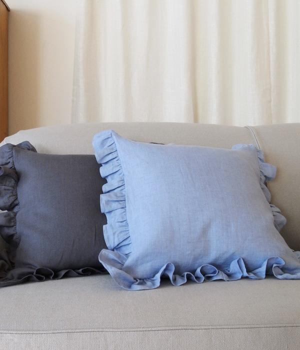 Frill Cushion Cover 【Chambrey Blue】 / フリルクッションカバー【ブルー】