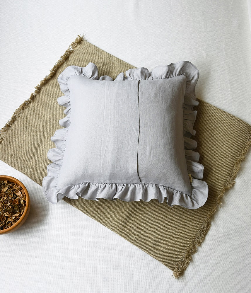 Frill Cushion Cover 【Light Gray】 / フリルクッションカバー【ライトグレー】