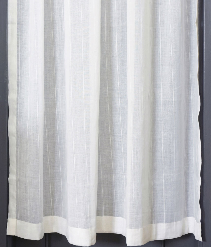Cafe Curtain【Muslin Half Linen Stripe White】 / カフェカーテン【モスリン ハーフリネンストライプホワイト】