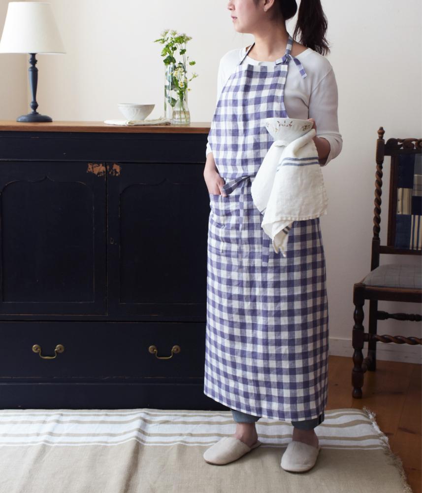 Linen Long Apron / ロングエプロン ブルーベリーチェック