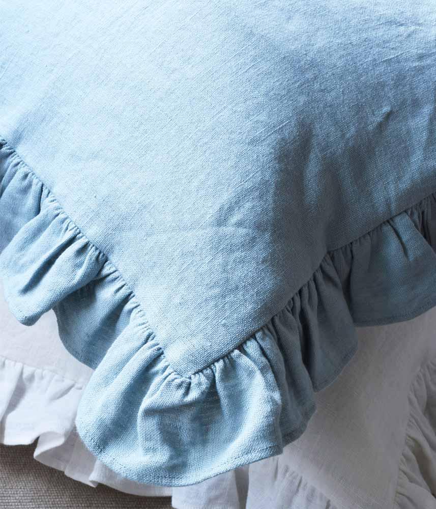 Frill Cushion Cover 【Wash Blue】 / リネンフリルクッションカバー【ウォッシュブルー】