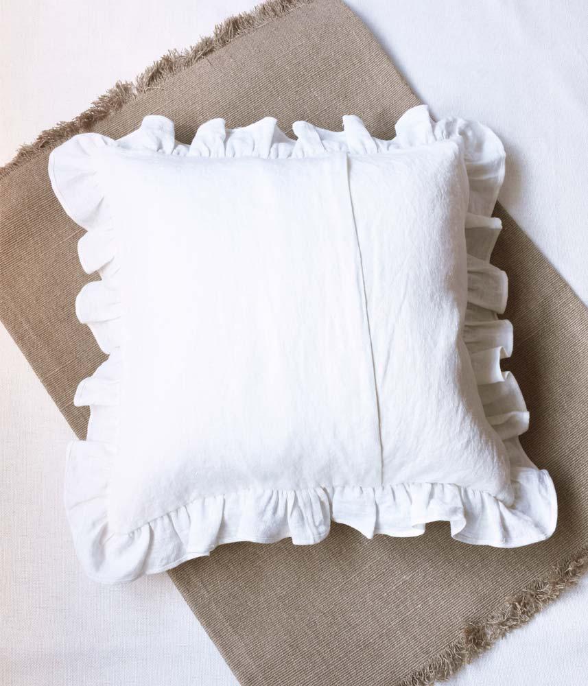 Frill Cushion Cover 【Wash White】 / リネンフリルクッションカバー【ウォッシュホワイト】