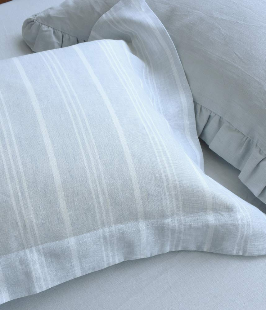 Silky Linen Pillow Case【Blue Gray】【Blue Gray Stripe】【Lilac】 / シルキーリネンピローケース  ヘムステッチ
