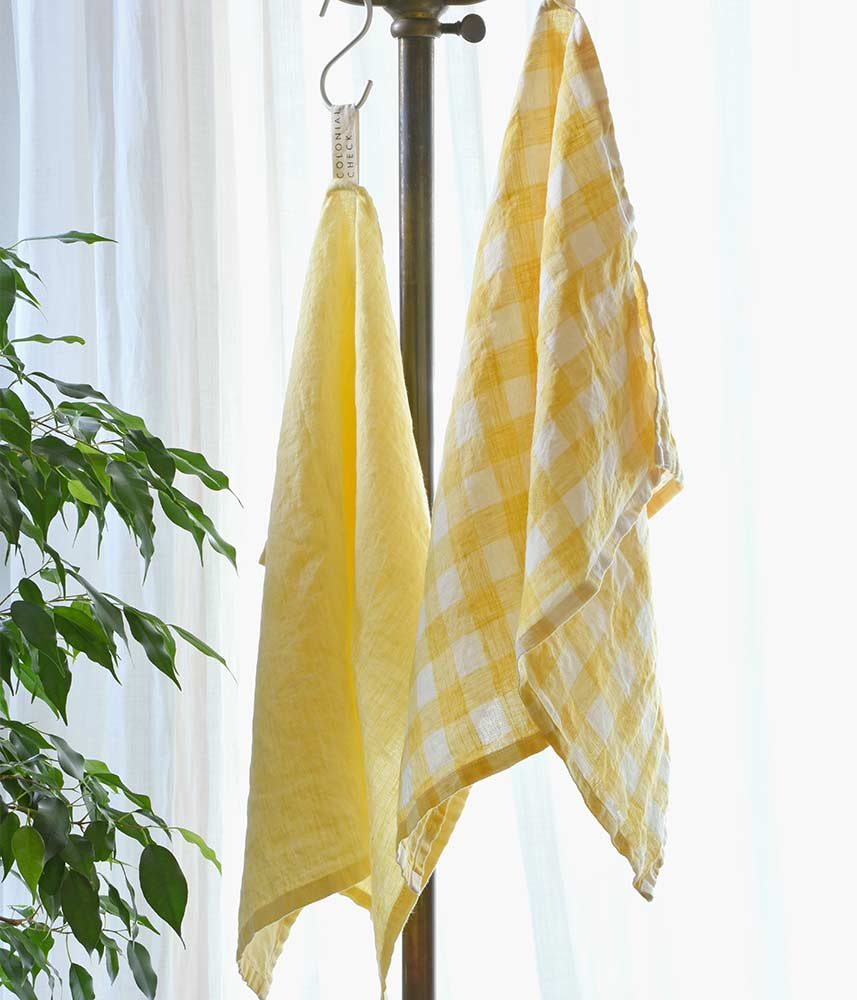 Linen Kitchen Cloth【Yellow Check & Plain】 / リネンキッチンクロス【イエロー】
