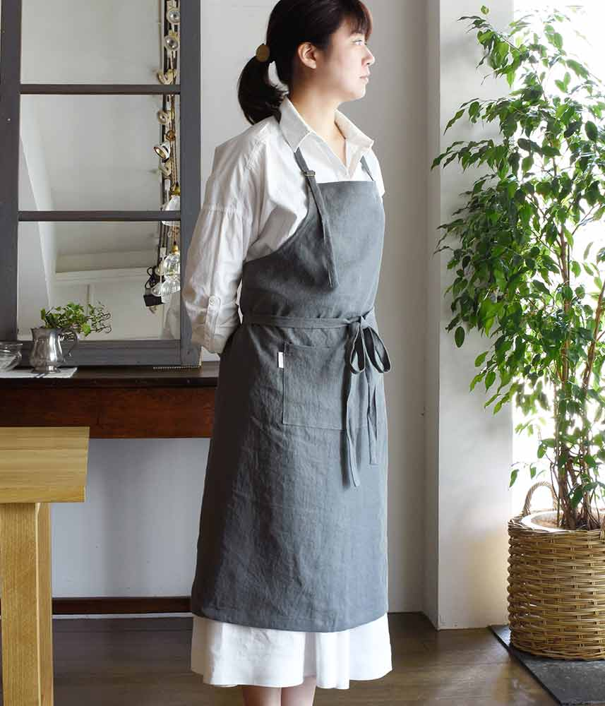 Linen Holderneck Apron/Daily【Washed Grey】 / リネンホルターネックエプロン/デイリー【ウォッシュグレイ】