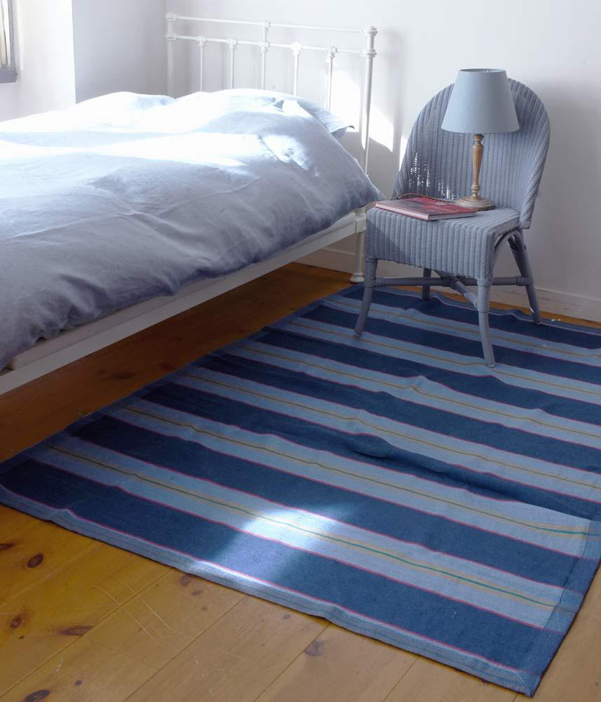 Original Linen Lug Mat【Blue Stripes】 / オリジナル リネンラグマット【ブルーストライプ】