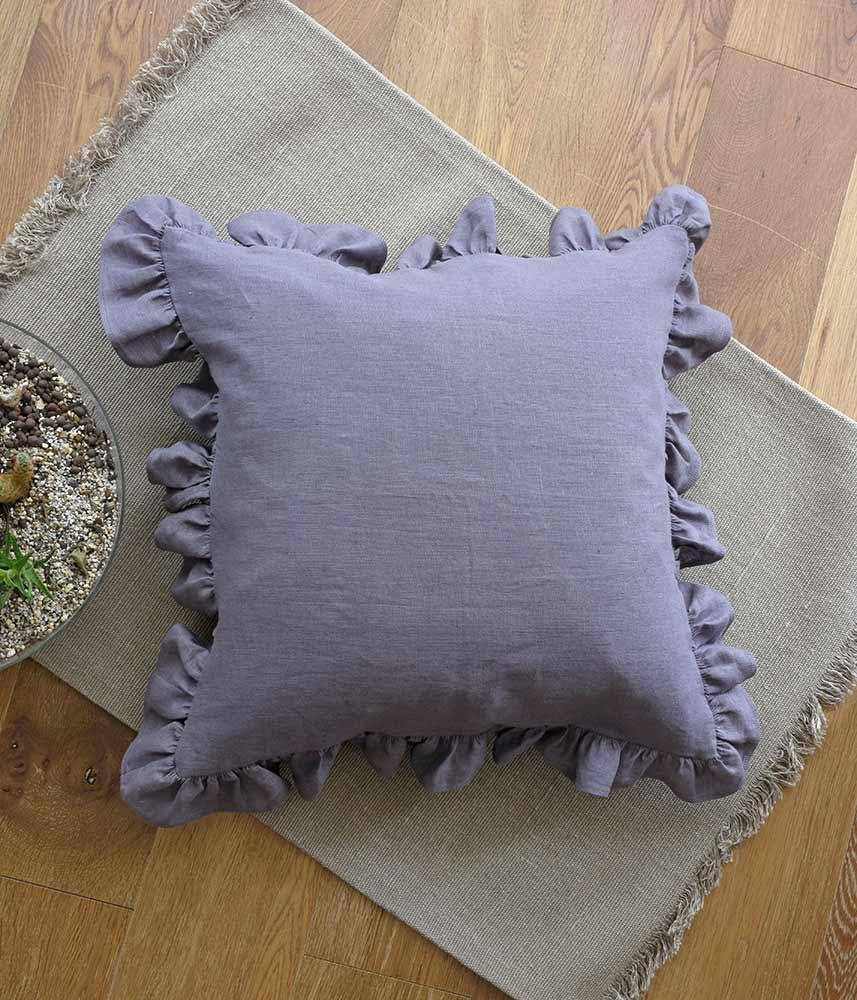 Frill Cushion Cover 【Plum】 / フリルクッションカバー【プラム】