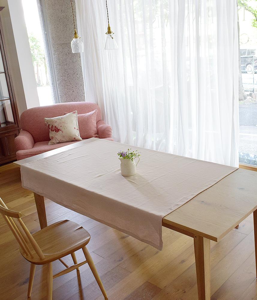 テーブルクロス / リネンテーブルクロス(flower,pink,gray)